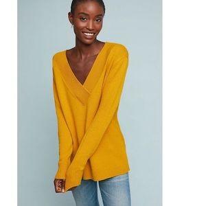 Anthropologie Oversized Yellow v-neck sweater M